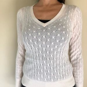 100% Cashmere Knitted Cream Sweater Wms. Small